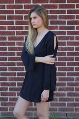 Black Suede Long Slv. Dress - Mink Pink