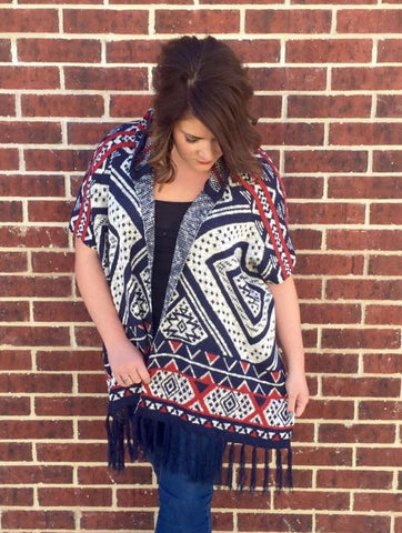 Navy Tribal Poncho - Plus +