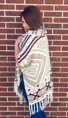 Ivory Tribal Poncho - Plus
