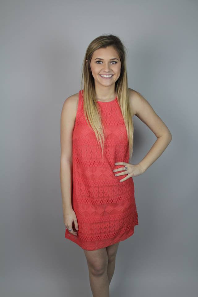 Coral Lace Crochet Dress