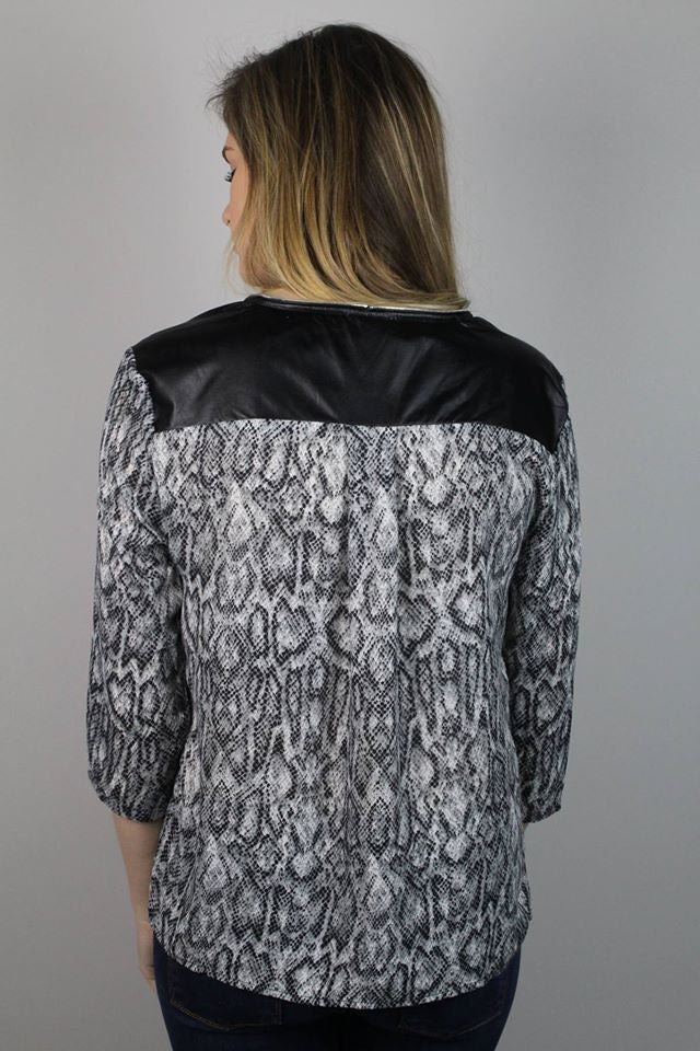Black Snake Print Blouse