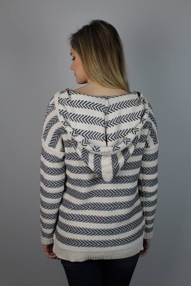 Grey + Ivory Knit Sweater