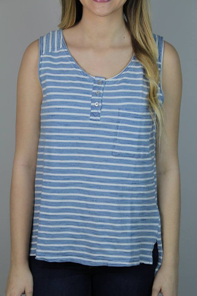 White + Blue Stripe Top