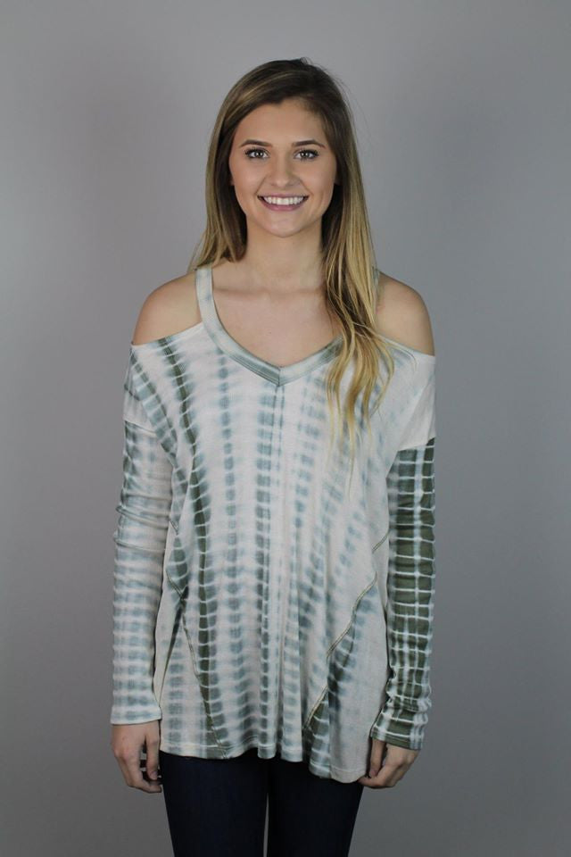 Green Tie Dye Cold Shoulder Top