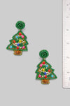 Beaded Christmas Tree Drop Earrings