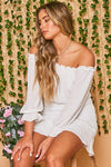 off shoulder smocked mini dress - white
