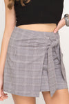 Plaid Mock Wrap Skirt