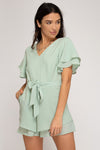 Ruffled Woven Romper - Sage