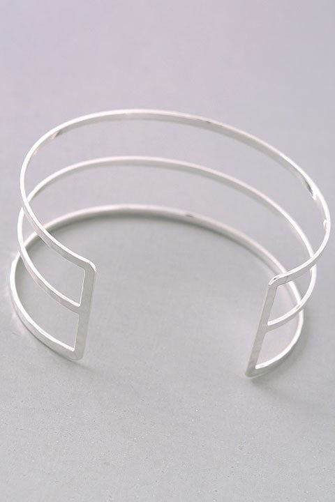 Three Bar Textured Bracelet Cuff {Gold + Silver}