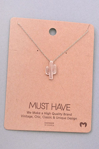 Cactus Pendant Necklace - Rose Gold