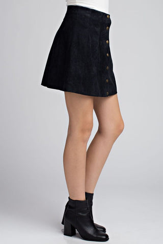 Suede Button-Up Skirt {Black}