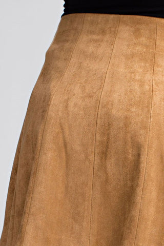 Suede Button-Up Skirt {Camel}