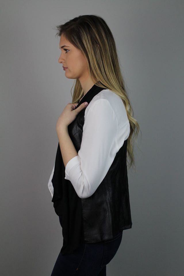 Black Faux Back Leather Vest