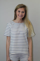 Ivory + Blue Stripd Boxy Top