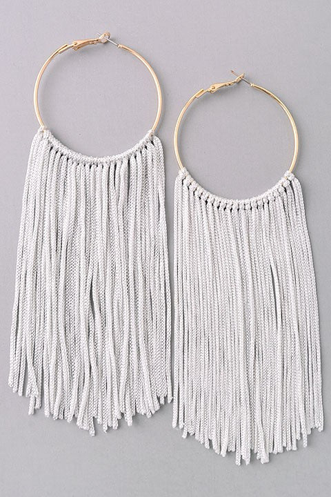 Fringe Hoop Earrings {Grey}