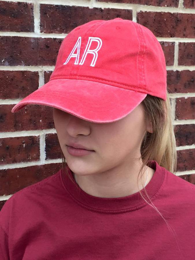 Red Retro State Hat - Arkansas