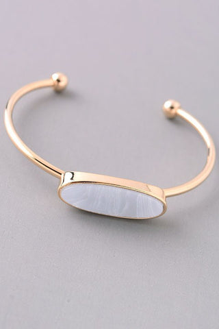 Oval Natural Stone Open Cuff   {Blush - Mint - Sky Blue}