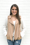 Suede Zip Up Vest - Taupe