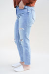 Tobi Crop Mom Jeans - Light Wash