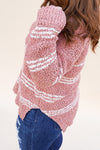 Striped Popcorn Sweater - Pink