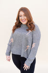 Pink Lightning Sweater - Grey