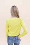 Neon Yellow Knot Ribbed Top