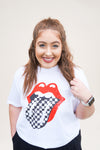 Checkered Rockstar Tee - White