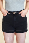 Ava Cuffed Shorts - Black Wash