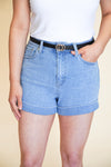 Ava Cuffed Shorts - Light Wash