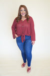 Marsala Button Down Top +