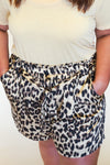 leopard satin shorts +