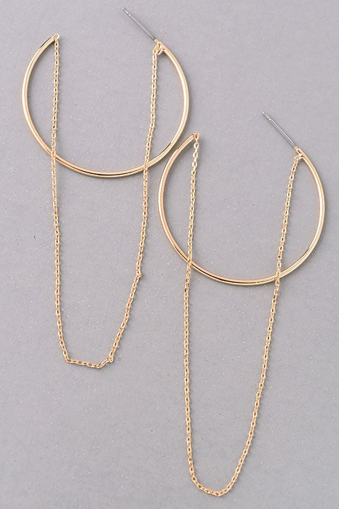 Metallic Hoop Dangling Chain Earrings {Silver + Gold}