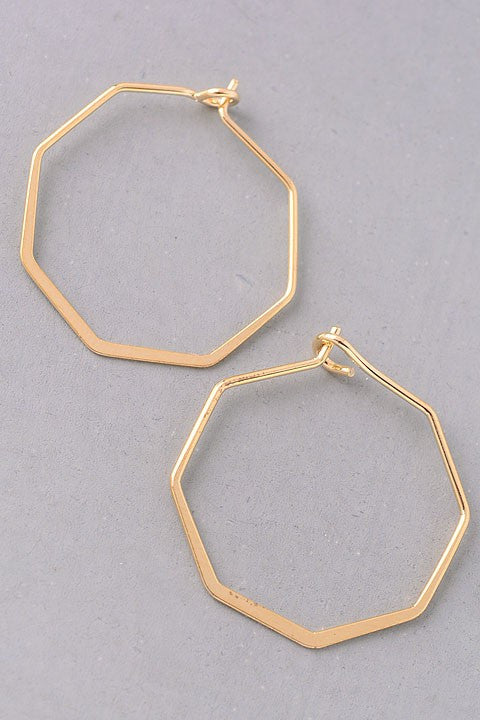 Small Hexagon Earrings {Gold}