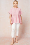 pink crinkled scoop top +