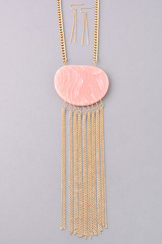 Rose Opulent Stone Tassel Necklace