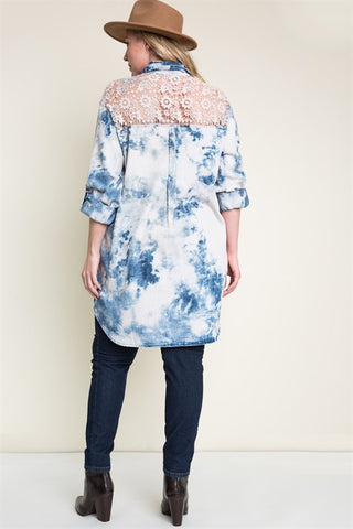 Pink Bleach Denim Lace Tunic Dress +