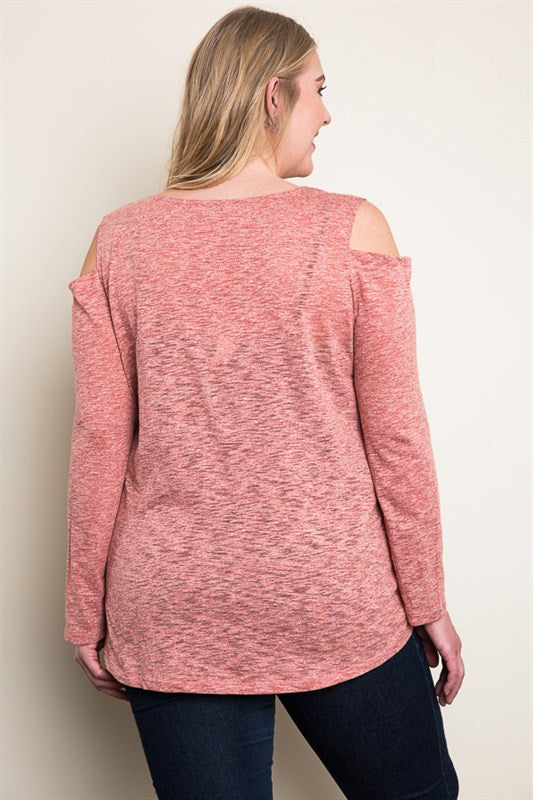 Rust Cold Shoulder Knit Top +
