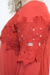 Rust Lace Detail Dress + - Luna Boutique