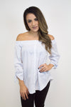 Blue Stripe Off-Shoulder Top
