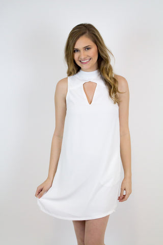 White Key Hole Dress
