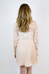 Taupe Lace Pleated Dress - Luna Boutique
