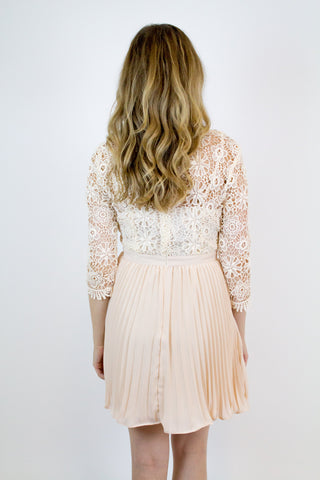 Taupe Lace Pleated Dress