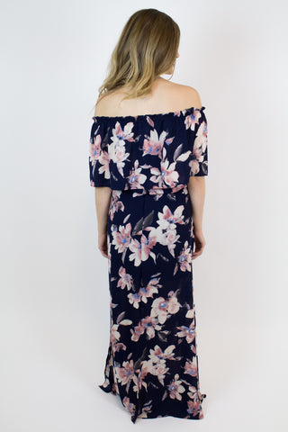 Navy Floral Off-Shoulder Maxi Dress