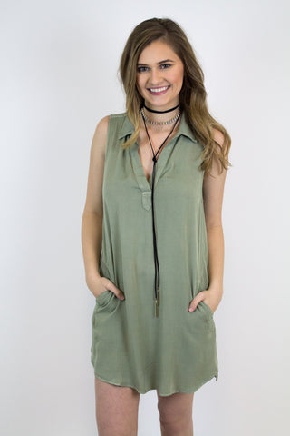 Olive Tunic Pocket Dress