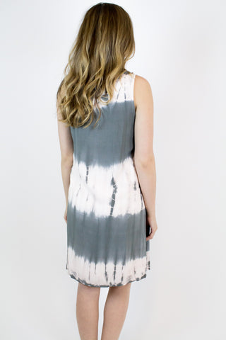 Grey Pink Tie Dye Dress