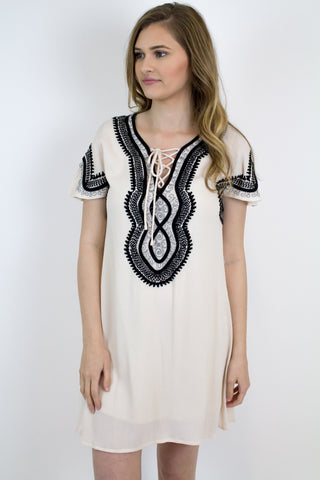 Taupe Dress W/Black Embroidery