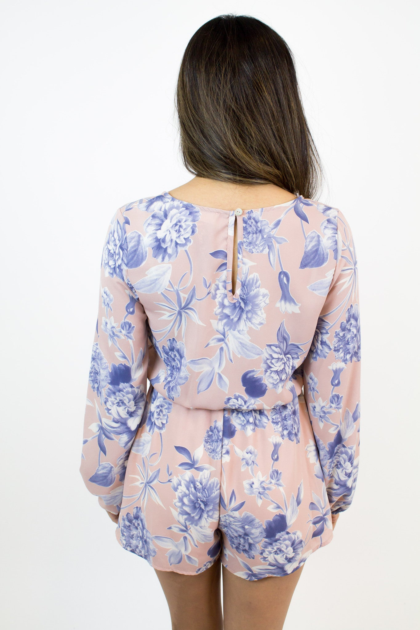 Blush Floral Blue Romper