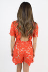 Red-Orange Crochet Romper