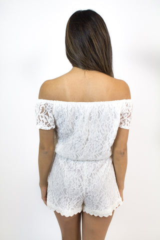 Ivory Lace Off Shoulder Romper - Jack by BB Dakota