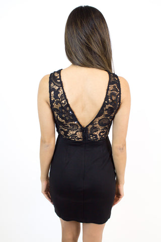 Black Lace Mesh Dress